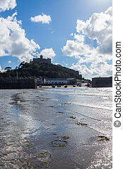 St Michaels Mount from the beach at Marazion Cornwall...