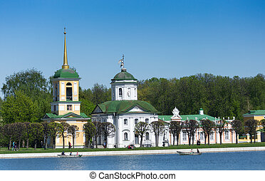 Kuskovo, Moscow, Russia. View on the church from the pond.