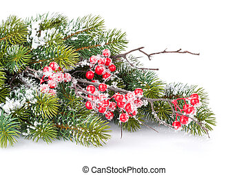 Christmas decorative snow branch with holly berry -...