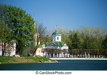 Kuskovo Church and Bell Tower. View from the pond.