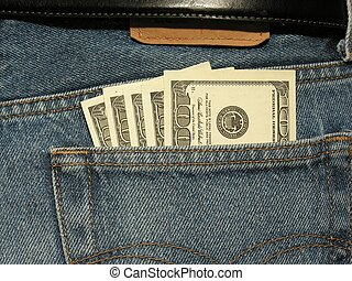 close-up of money in the pocket