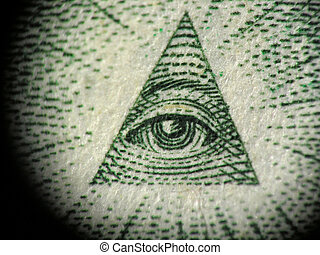 detail of the pyramid on the one dollar bill