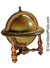 Old wooden globus - Old spanish globus replica spinning,...