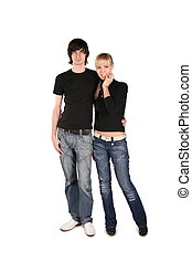 couple in black stands
