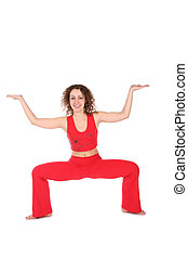 girl in red, one more yoga exercise