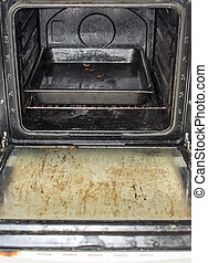 Dirty oven - A picture of a very greasy, unhygenic kitchen...