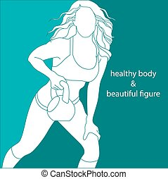 attractive girl athletic - silhouette of a attractive woman...