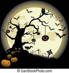 Halloween Full Moon - Halloween background with full moon...