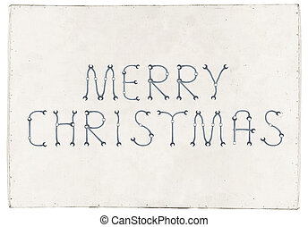 Merry Christmas greetings slogan on plywood board - Merry...