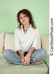 sofá, mulher, jovem