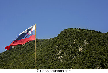 Slovenian flag and blurred forest behind