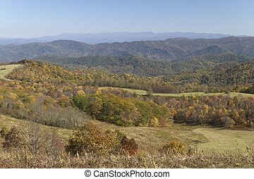 Mountains in Autumn - Scenic view overlooking the...