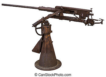 Machine gun - Rusty machine gun, on a white background