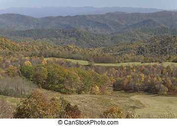 Scenic Mountains in Fall - Scenic view overlooking the...