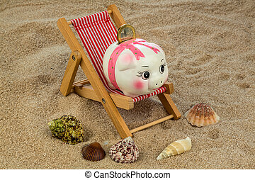 deck chair with piggy bank and euro - deck chair with euro...