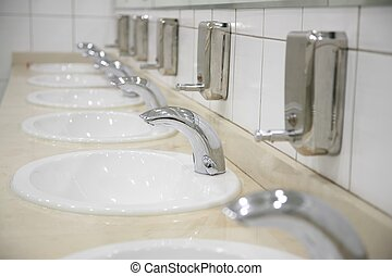 row of faucet
