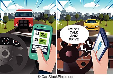 "Concept of ""don't text and drive"" and ""don't talk and drive""..."