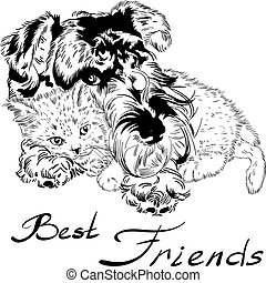 Vector sketch cute dog with cat hand drawing vector - Sweet...