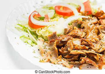 Kebab meat - Dish of kebab meat ready to eat.