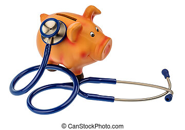piggy bank and stethoscope - a piggy bank and a stethoscope....