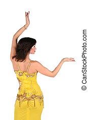 Bellydance woman in yellow egypt style