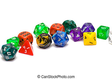 RPG dices on isolated background - multiple colorful role...