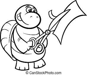 turtle with scissors coloring page