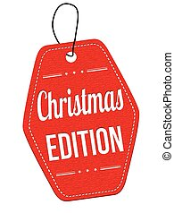 Christmas edition label or price tag - Christmas edition red...