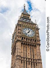 Big Ben Clock Tower in London - Closeup of Big Ben Clock...