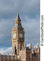 Big Ben Clock Tower in London against cloudy sky