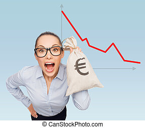 businesswoman holding money bag with euro - business, money...