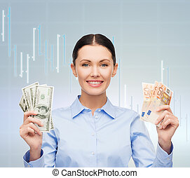 businesswoman with dollar and euro cash money - business,...