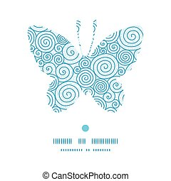 Vector abstract swirls butterfly silhouette pattern frame...