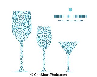 Vector abstract swirls three wine glasses silhouettes pattern frame