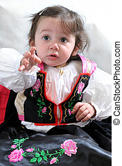 Angela, the girl in traditional dress - Little girl with the...