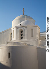 Naxos - 02 - The white church on the top of Chora at the...