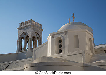 Naxos - 01 - The white church on the top of Chora at the...