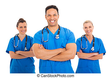 mid age medical doctor with colleagues