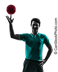 young man exercising handball player silhouette - one young...