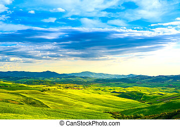 Tuscany, rural sunset landscape. Countryside farm, white...