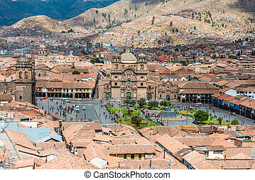 aerial view of Cuzco city peruvian Andes