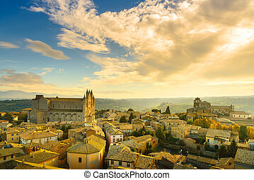 Orvieto medieval town and Duomo cathedral church aerial...