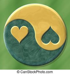 Jing jang hearts made by mix materials