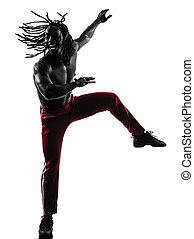 african man exercising fitness zumba dancing silhouette -...