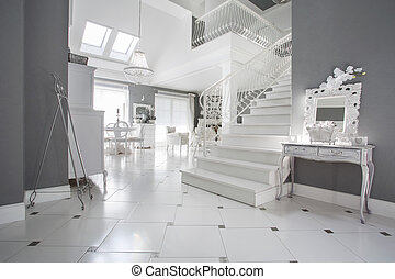 Luxury entrance hall - Photo of luxury white entrance hall