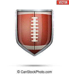 Bright shield in the american football ball inside. Vector.