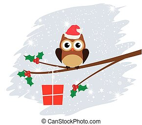 Owl - vector owl with Christmas present