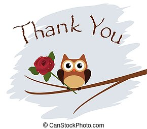 Owl - vector owl thank you card with rose