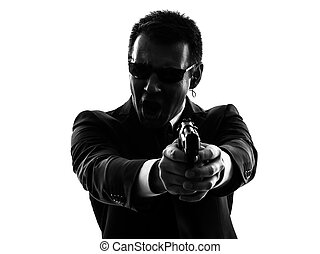 secret service security bodyguard agent man silhouette - one...