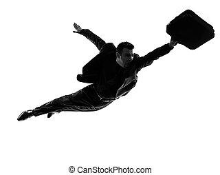 negócio, Super, homem, voando, silueta,